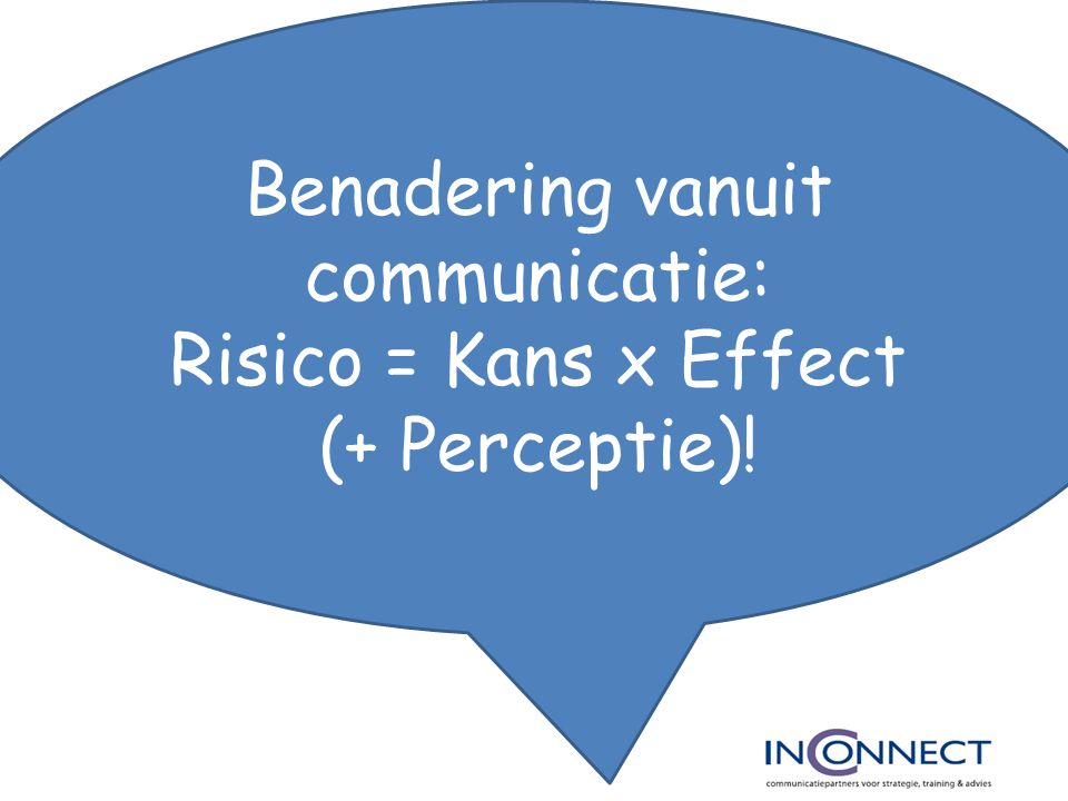 Benadering vanuit communicatie: Risico = Kans x Effect (+ Perceptie)!