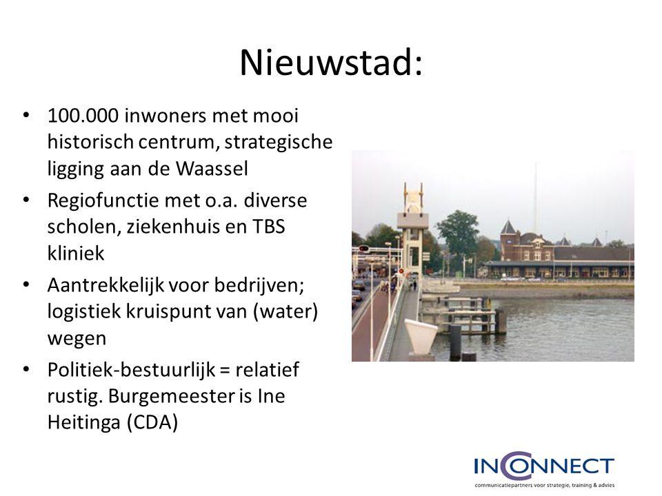 Nieuwstad: 100.000 inwoners met mooi historisch centrum, strategische ligging aan de Waassel Regiofunctie met o.a. diverse scholen, ziekenhuis en TBS