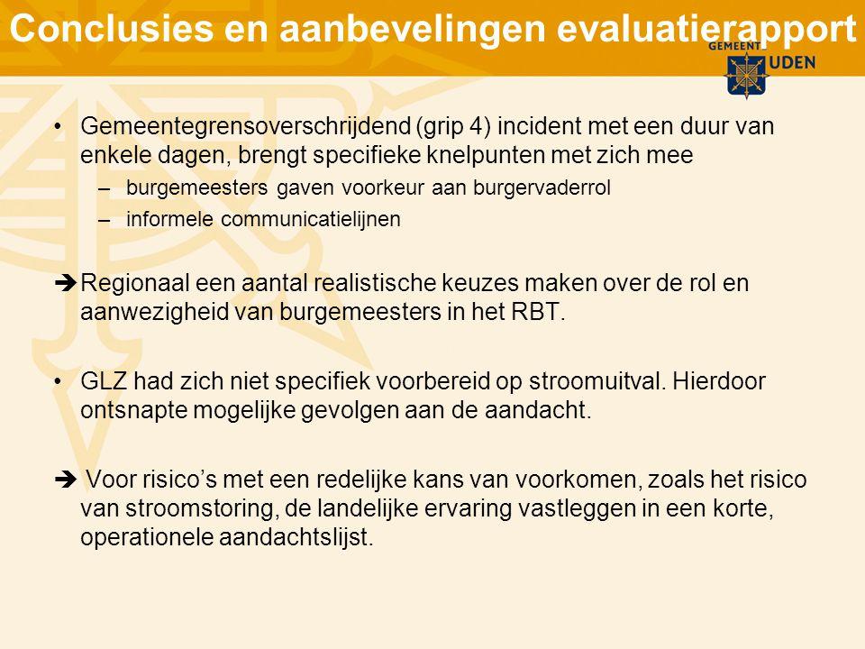 Conclusies en aanbevelingen evaluatierapport Gemeentegrensoverschrijdend (grip 4) incident met een duur van enkele dagen, brengt specifieke knelpunten
