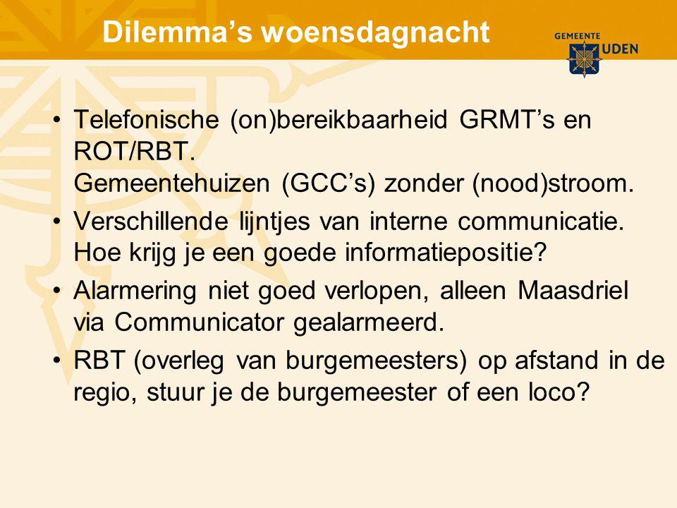 Dilemma's woensdagnacht Telefonische (on)bereikbaarheid GRMT's en ROT/RBT. Gemeentehuizen (GCC's) zonder (nood)stroom. Verschillende lijntjes van inte