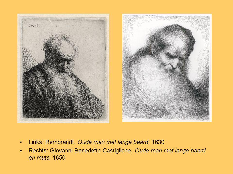 Links: Rembrandt, Oude man met lange baard, 1630 Rechts: Giovanni Benedetto Castiglione, Oude man met lange baard en muts, 1650