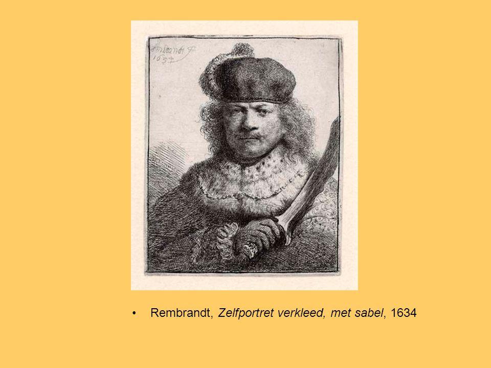 Rembrandt, Zelfportret verkleed, met sabel, 1634