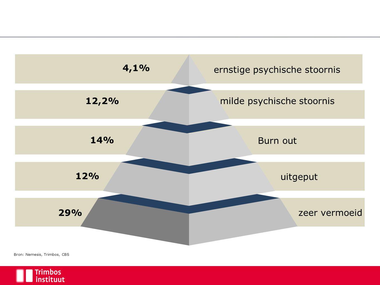 14% 12,2% Burn out milde psychische stoornis uitgeput zeer vermoeid ernstige psychische stoornis 4,1% 12% 29% Bron: Nemesis, Trimbos, CBS