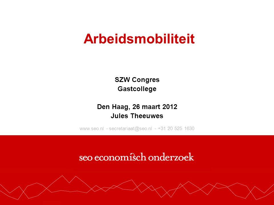 www.seo.nl - secretariaat@seo.nl - +31 20 525 1630 Arbeidsmobiliteit SZW Congres Gastcollege Den Haag, 26 maart 2012 Jules Theeuwes
