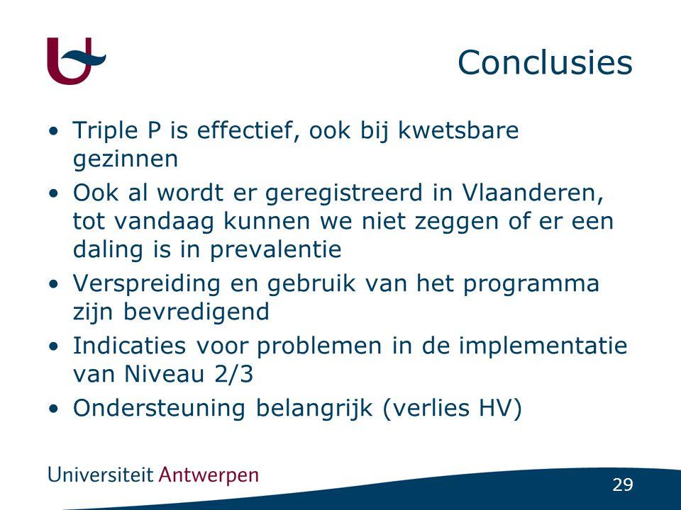 29 Conclusies Triple P is effectief, ook bij kwetsbare gezinnen Ook al wordt er geregistreerd in Vlaanderen, tot vandaag kunnen we niet zeggen of er een daling is in prevalentie Verspreiding en gebruik van het programma zijn bevredigend Indicaties voor problemen in de implementatie van Niveau 2/3 Ondersteuning belangrijk (verlies HV)