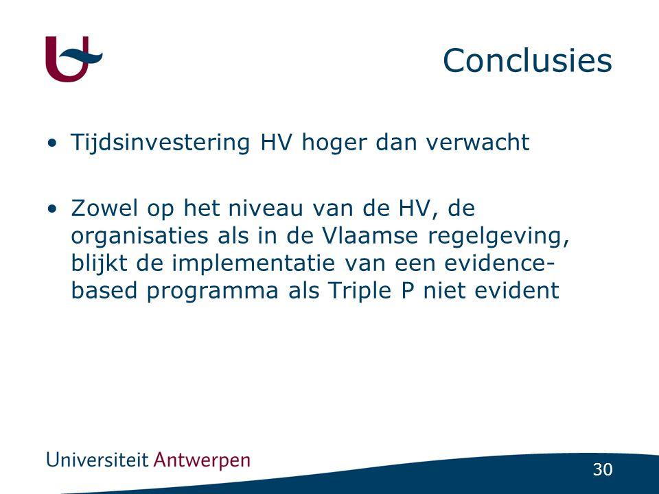 30 Conclusies Tijdsinvestering HV hoger dan verwacht Zowel op het niveau van de HV, de organisaties als in de Vlaamse regelgeving, blijkt de implement