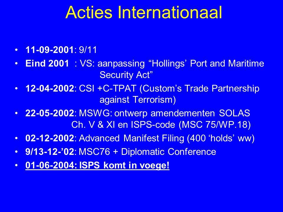 Scheepsbeveiliging (1): Bij niveau 1 moet het schip: –alle beveiligingsverplichtingen opvolgen –toegang tot het schip, het a/boord komen van personen en hun bezittingen controleren –zones met beperkte toegang, het dek en de zones rondom het schip monitoren –lading en scheepsproviand superviseren –beveiligingscommunicatie standby hebben