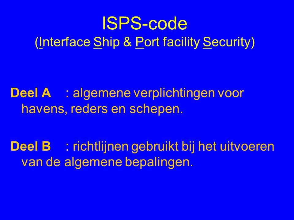 Verplichtingen voor het schip AIS : gefaseerd invoeren - verplicht voor alle schepen vanaf 2008 (2004:.…) SSP: scheepsbeveiligingsplan: procedures van maatregelen ingeval van terrorisme.