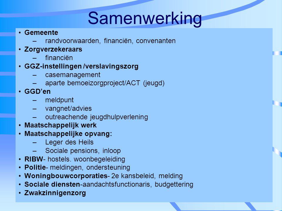 Samenwerking Gemeente –randvoorwaarden, financiën, convenanten Zorgverzekeraars –financiën GGZ-instellingen /verslavingszorg –casemanagement –aparte b