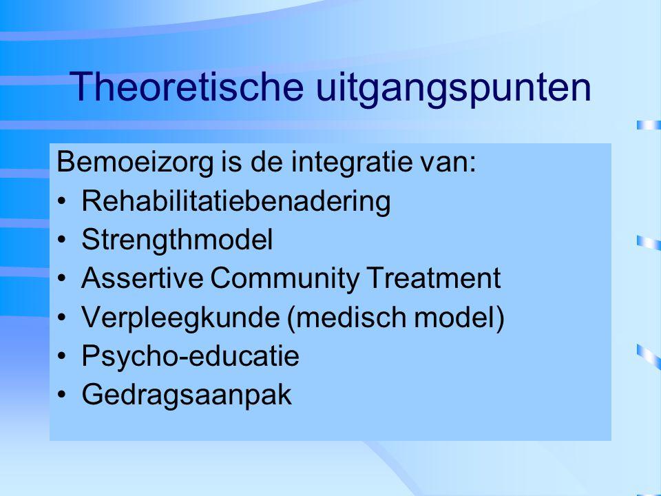 Theoretische uitgangspunten Bemoeizorg is de integratie van: Rehabilitatiebenadering Strengthmodel Assertive Community Treatment Verpleegkunde (medisc