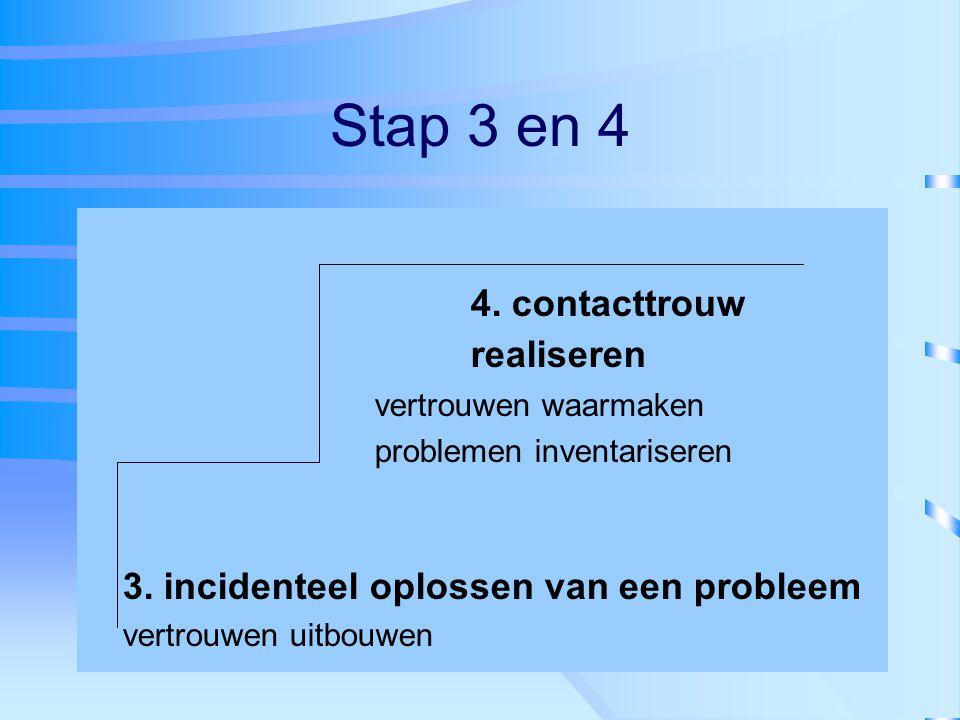 Stap 3 en 4 4. contacttrouw realiseren vertrouwen waarmaken problemen inventariseren 3. incidenteel oplossen van een probleem vertrouwen uitbouwen