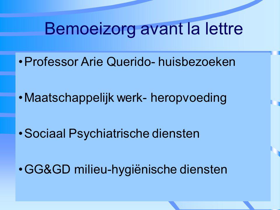 Bemoeizorg avant la lettre Professor Arie Querido- huisbezoeken Maatschappelijk werk- heropvoeding Sociaal Psychiatrische diensten GG&GD milieu-hygiën