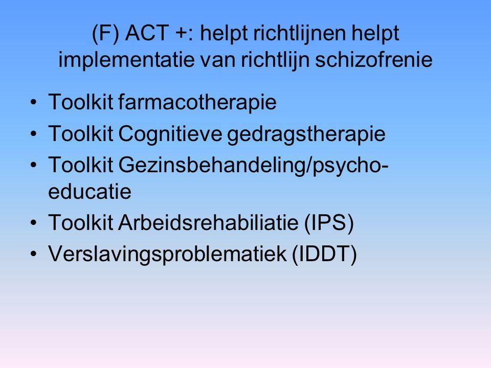 (F) ACT +: helpt richtlijnen helpt implementatie van richtlijn schizofrenie Toolkit farmacotherapie Toolkit Cognitieve gedragstherapie Toolkit Gezinsb
