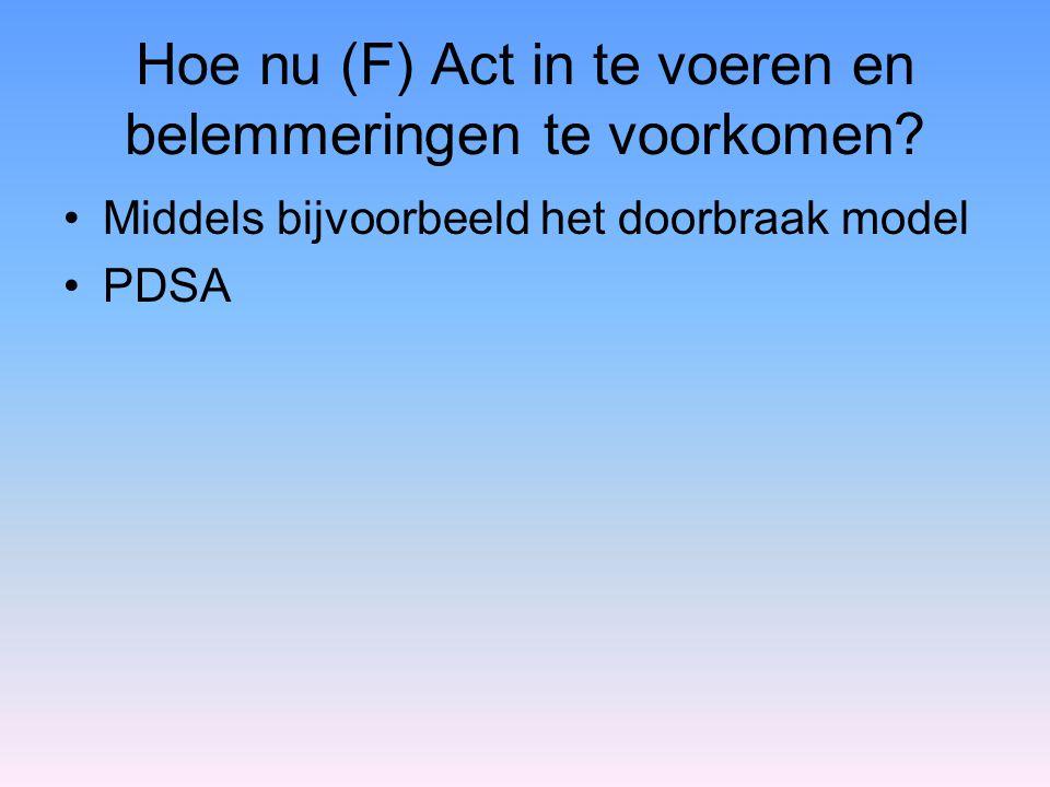 Hoe nu (F) Act in te voeren en belemmeringen te voorkomen? Middels bijvoorbeeld het doorbraak model PDSA