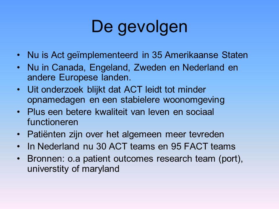 De gevolgen Nu is Act geïmplementeerd in 35 Amerikaanse Staten Nu in Canada, Engeland, Zweden en Nederland en andere Europese landen. Uit onderzoek bl