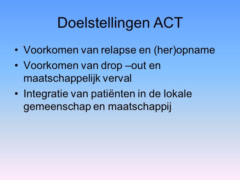 Doelstellingen ACT Voorkomen van relapse en (her)opname Voorkomen van drop –out en maatschappelijk verval Integratie van patiënten in de lokale gemeen
