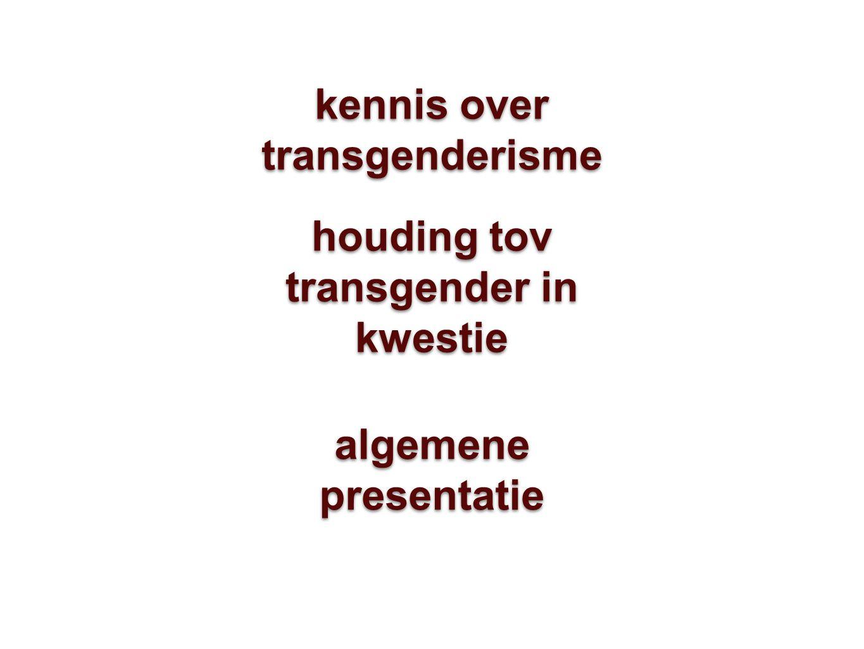 kennis over transgenderisme houding tov transgender in kwestie algemene presentatie