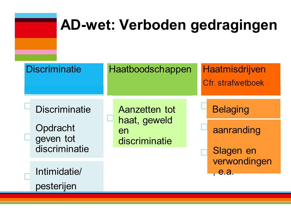 AD-wet: Verboden gedragingen Discriminatie Opdracht geven tot discriminatie Intimidatie/ pesterijen Haatboodschappen Aanzetten tot haat, geweld en discriminatie Haatmisdrijven Cfr.