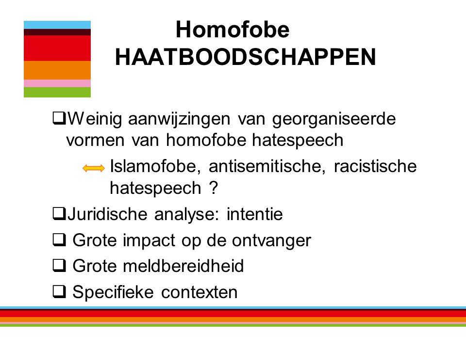 Homofobe HAATBOODSCHAPPEN  Weinig aanwijzingen van georganiseerde vormen van homofobe hatespeech Islamofobe, antisemitische, racistische hatespeech .