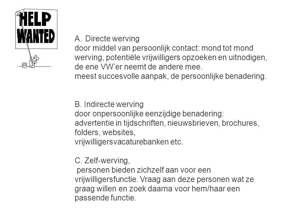 A.Directe werving door middel van persoonlijk contact: mond tot mond werving, potentiële vrijwilligers opzoeken en uitnodigen, de ene VW'er neemt de a