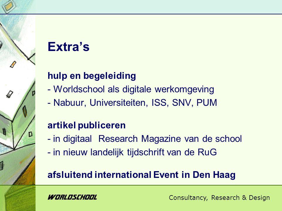 Consultancy, Research & Design Extra's hulp en begeleiding - Worldschool als digitale werkomgeving - Nabuur, Universiteiten, ISS, SNV, PUM artikel publiceren - in digitaal Research Magazine van de school - in nieuw landelijk tijdschrift van de RuG afsluitend international Event in Den Haag