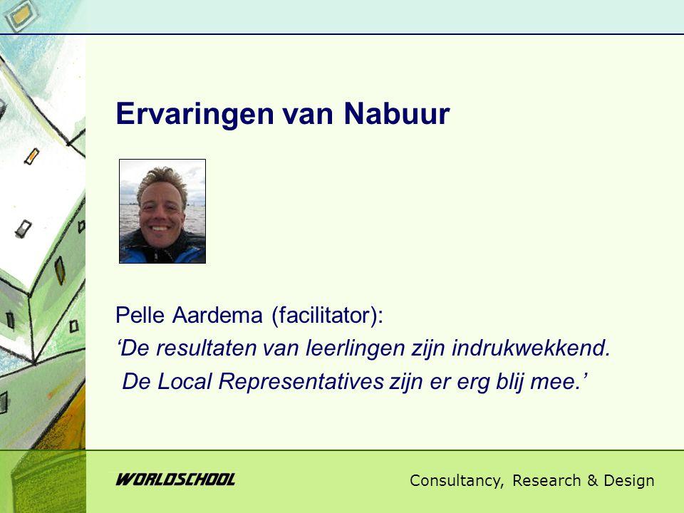 Consultancy, Research & Design Ervaringen van Nabuur Pelle Aardema (facilitator): 'De resultaten van leerlingen zijn indrukwekkend. De Local Represent