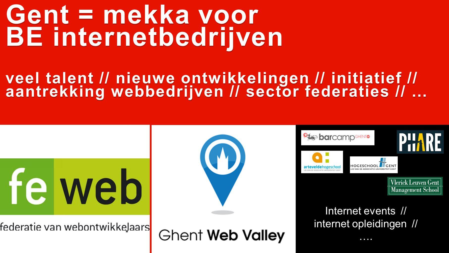 Gent = mekka voor BE internetbedrijven veel talent // nieuwe ontwikkelingen // initiatief // aantrekking webbedrijven // sector federaties // … Gent = mekka voor BE internetbedrijven veel talent // nieuwe ontwikkelingen // initiatief // aantrekking webbedrijven // sector federaties // … Internet events // internet opleidingen // ….