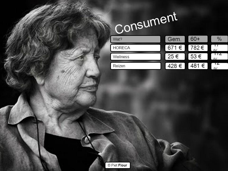 ©© © Piet Flour Consument Wat? HORECA Wellness Reizen Gem. 60+ 671 € 25 € 428 € 782 € 53 € 481 € 17 % 112 % 12 % %