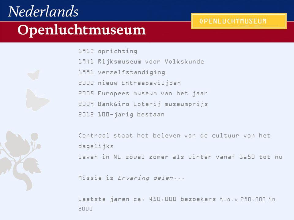 1912 oprichting 1941 Rijksmuseum voor Volkskunde 1991 verzelfstandiging 2000 nieuw Entreepaviljoen 2005 Europees museum van het jaar 2009 BankGiro Lot