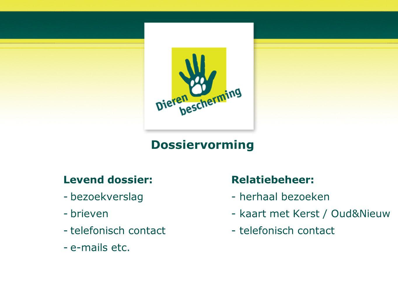 Dossiervorming Levend dossier:Relatiebeheer: -bezoekverslag- herhaal bezoeken -brieven- kaart met Kerst / Oud&Nieuw -telefonisch contact- telefonisch
