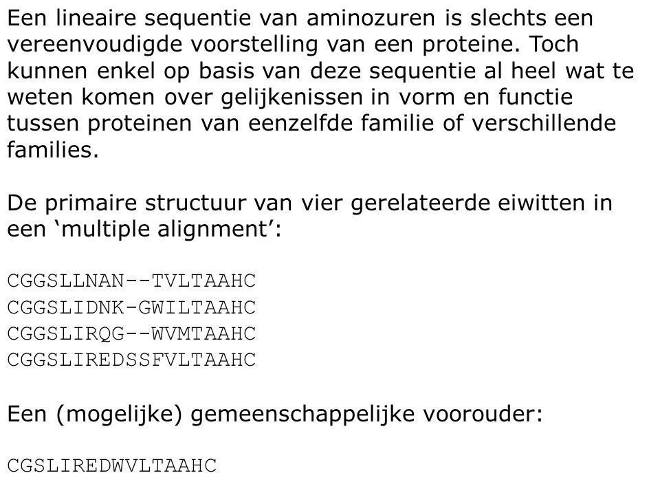 Een lineaire sequentie van aminozuren is slechts een vereenvoudigde voorstelling van een proteine. Toch kunnen enkel op basis van deze sequentie al he