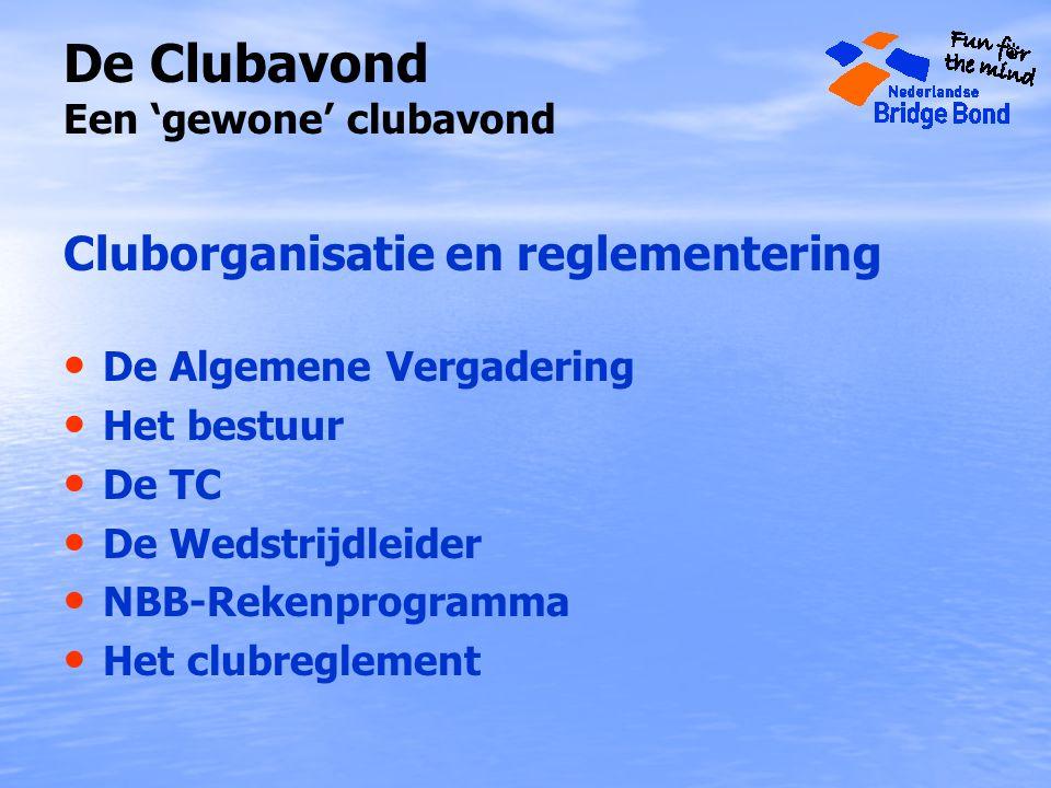 De Clubavond Een 'gewone' clubavond Cluborganisatie en reglementering De Algemene Vergadering Het bestuur De TC De Wedstrijdleider NBB-Rekenprogramma Het clubreglement