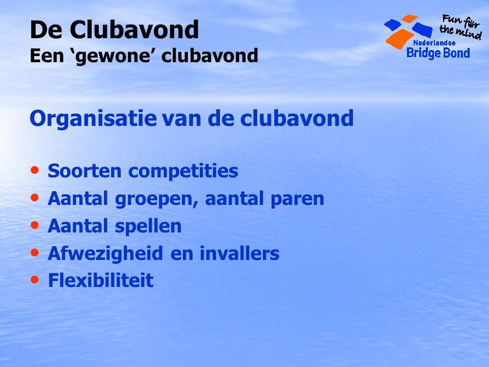 De Clubavond Een 'gewone' clubavond Organisatie van de clubavond Soorten competities Aantal groepen, aantal paren Aantal spellen Afwezigheid en invallers Flexibiliteit