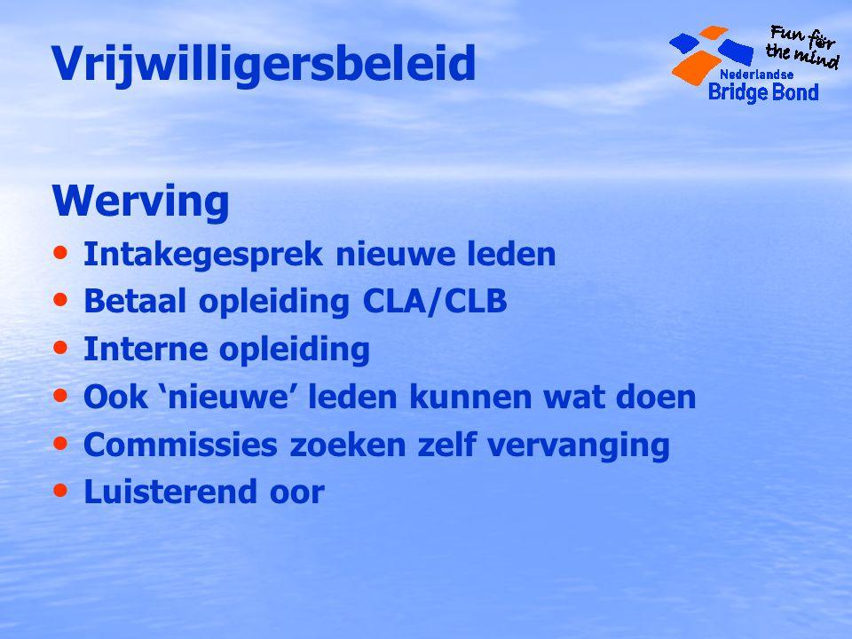 Vrijwilligersbeleid Werving Intakegesprek nieuwe leden Betaal opleiding CLA/CLB Interne opleiding Ook 'nieuwe' leden kunnen wat doen Commissies zoeken