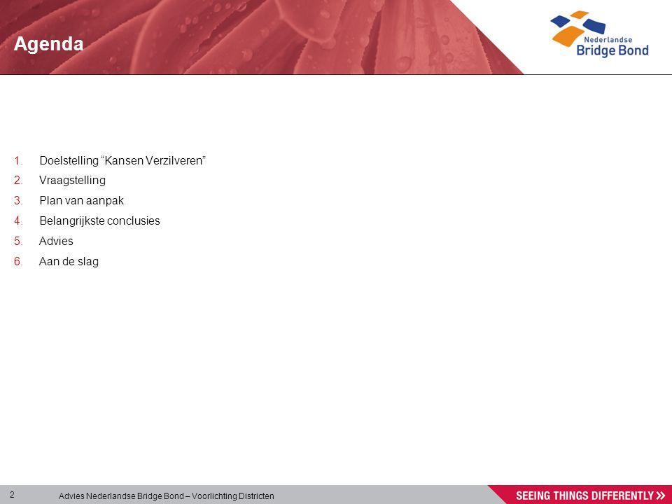 """Advies Nederlandse Bridge Bond – Voorlichting Districten 2 1.Doelstelling """"Kansen Verzilveren"""" 2.Vraagstelling 3.Plan van aanpak 4.Belangrijkste concl"""