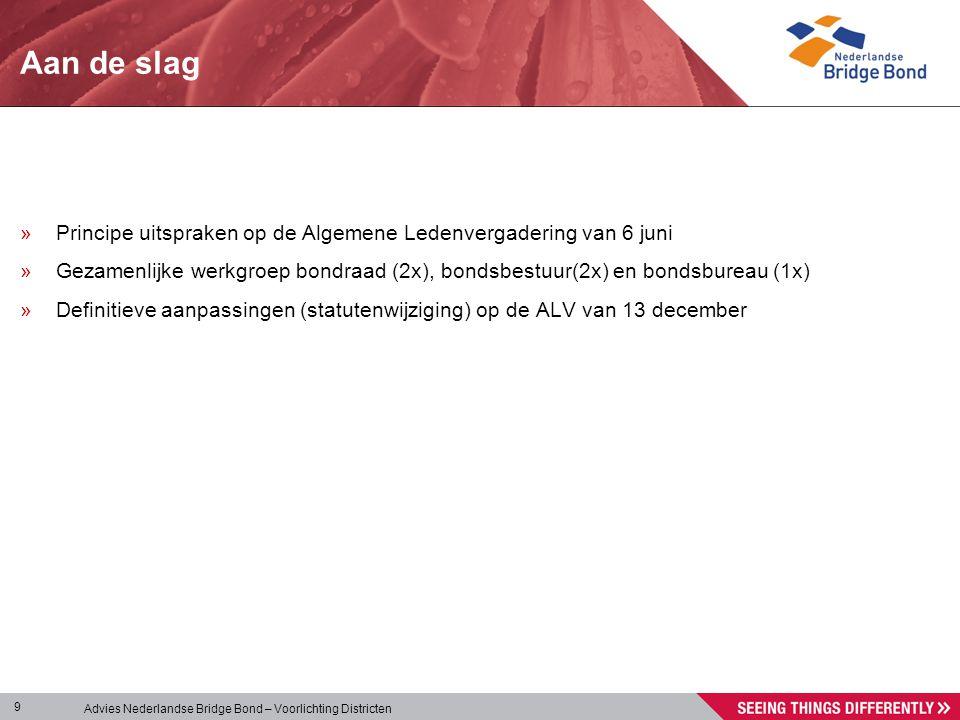 Advies Nederlandse Bridge Bond – Voorlichting Districten 9 Aan de slag »Principe uitspraken op de Algemene Ledenvergadering van 6 juni »Gezamenlijke w