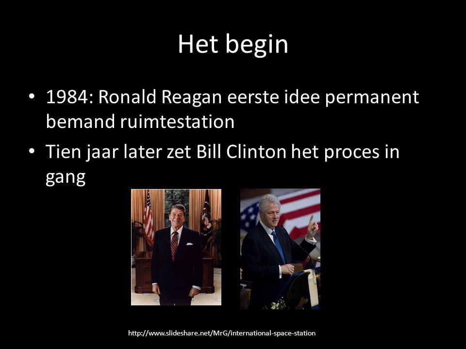 Het begin 1984: Ronald Reagan eerste idee permanent bemand ruimtestation Tien jaar later zet Bill Clinton het proces in gang http://www.slideshare.net/MrG/international-space-station