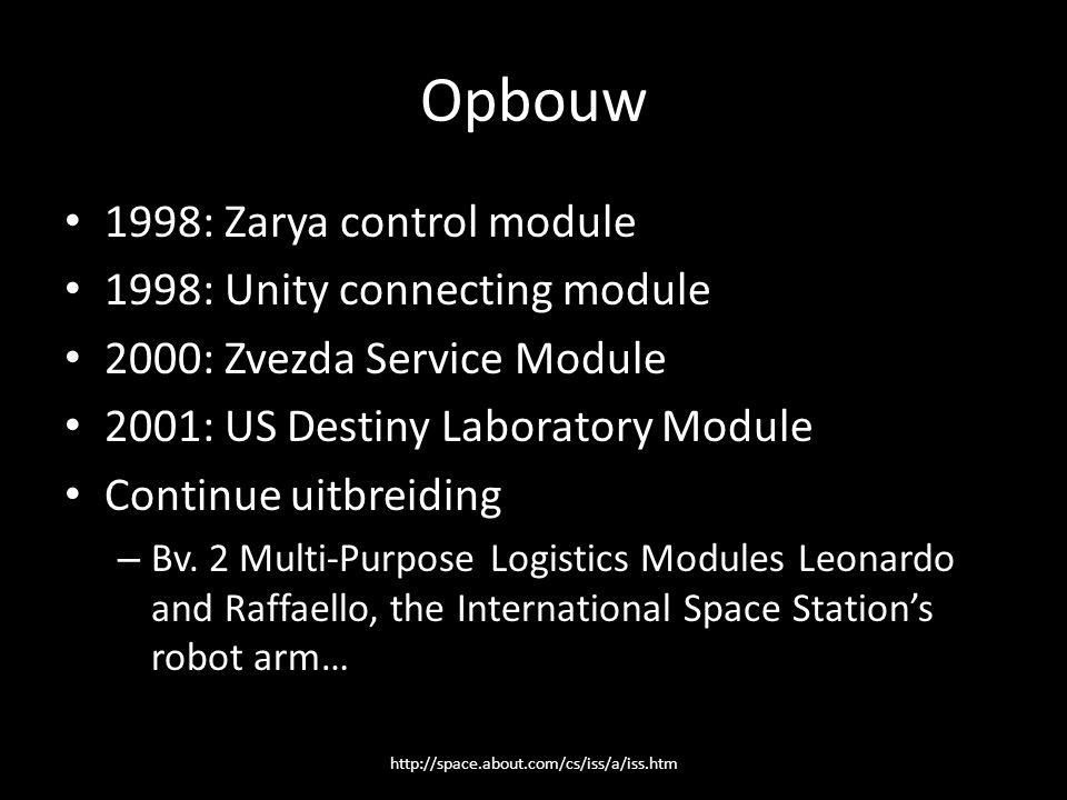 Opbouw 1998: Zarya control module 1998: Unity connecting module 2000: Zvezda Service Module 2001: US Destiny Laboratory Module Continue uitbreiding – Bv.