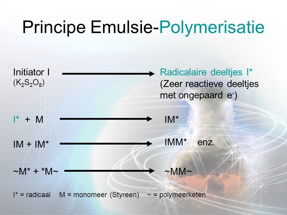Principe Emulsie-Polymerisatie Initiator I (K 2 S 2 O 8 ) Radicalaire deeltjes I* (Zeer reactieve deeltjes met ongepaard e - ) I* + MIM* IM + IM* IMM*