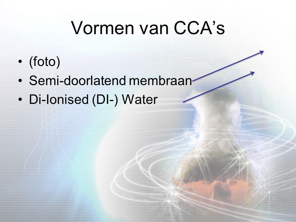 Vormen van CCA's (foto) Semi-doorlatend membraan Di-Ionised (DI-) Water