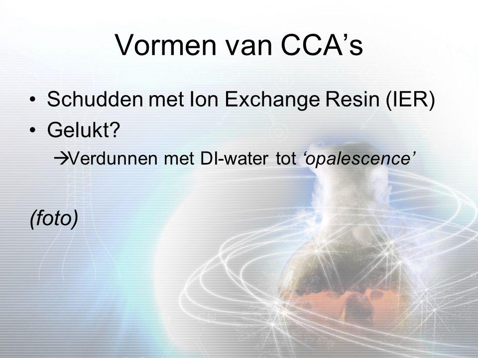 Vormen van CCA's Schudden met Ion Exchange Resin (IER) Gelukt?  Verdunnen met DI-water tot 'opalescence' (foto)