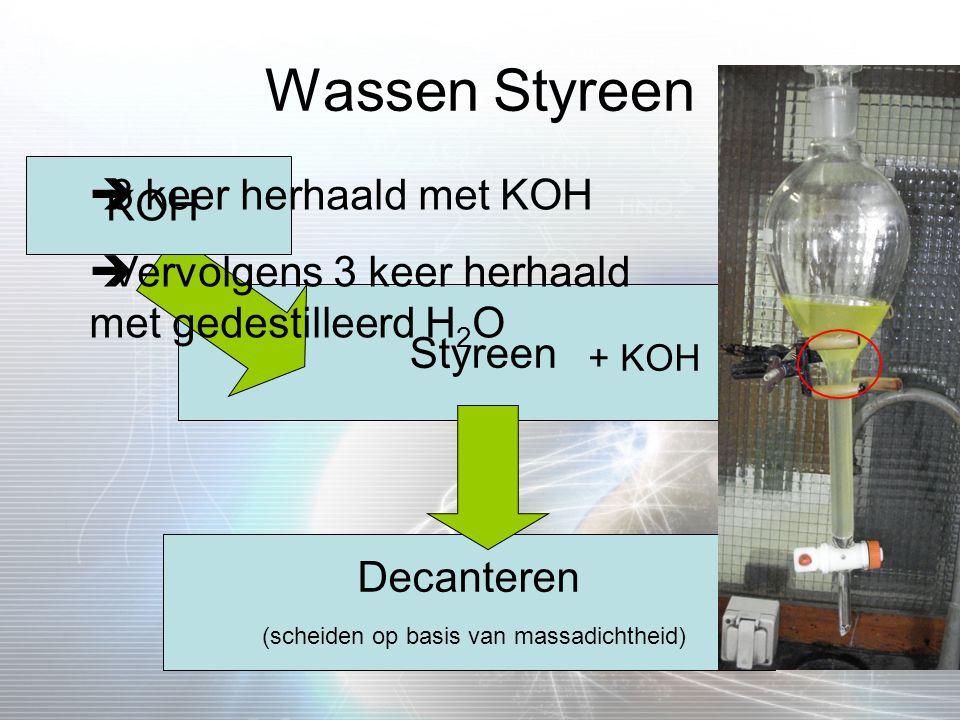 Wassen Styreen Styreen KOH Decanteren (scheiden op basis van massadichtheid) + KOH  3 keer herhaald met KOH  Vervolgens 3 keer herhaald met gedestil