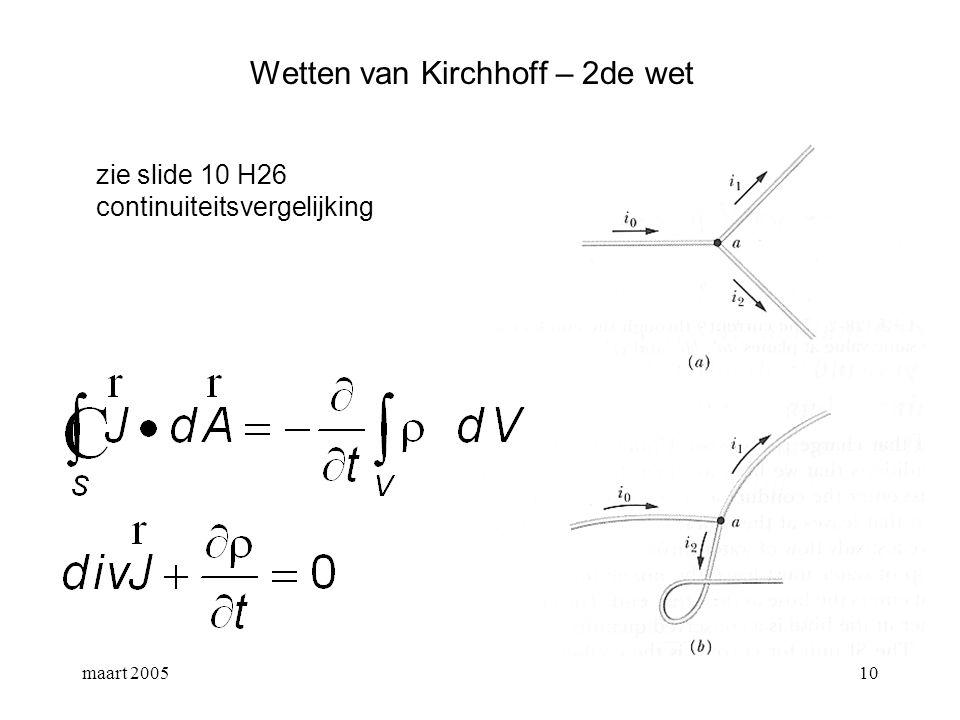 maart 200511 Wetten van Kirchhoff – 2de wet alle lading die per tijdseenheid in een vertakkingpunt toekomt, moet daar ook vertrekken.