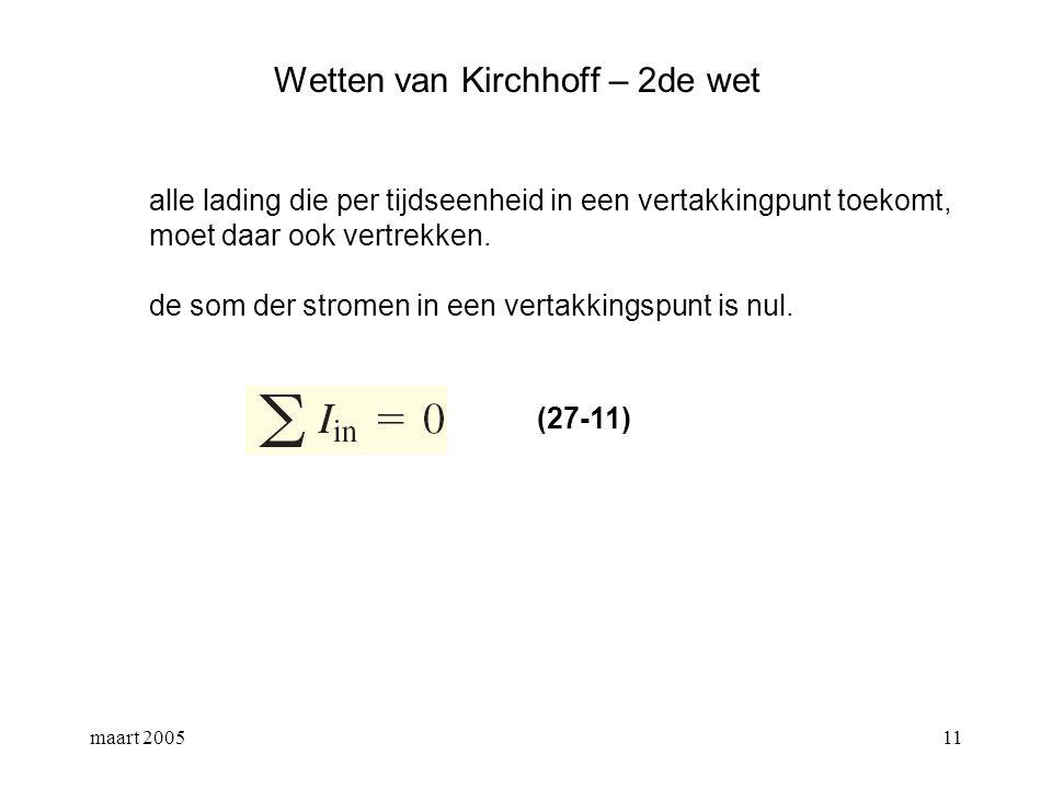 maart 200512 Wetten van Kirchhoff – 2de wet