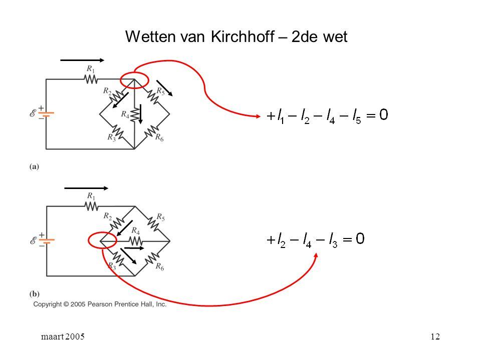 maart 200513 Wetten van Kirchhoff – 2de wet samengestelde ketens: duid de vertakkingspunten aan en kies een aantal gesloten lussen.