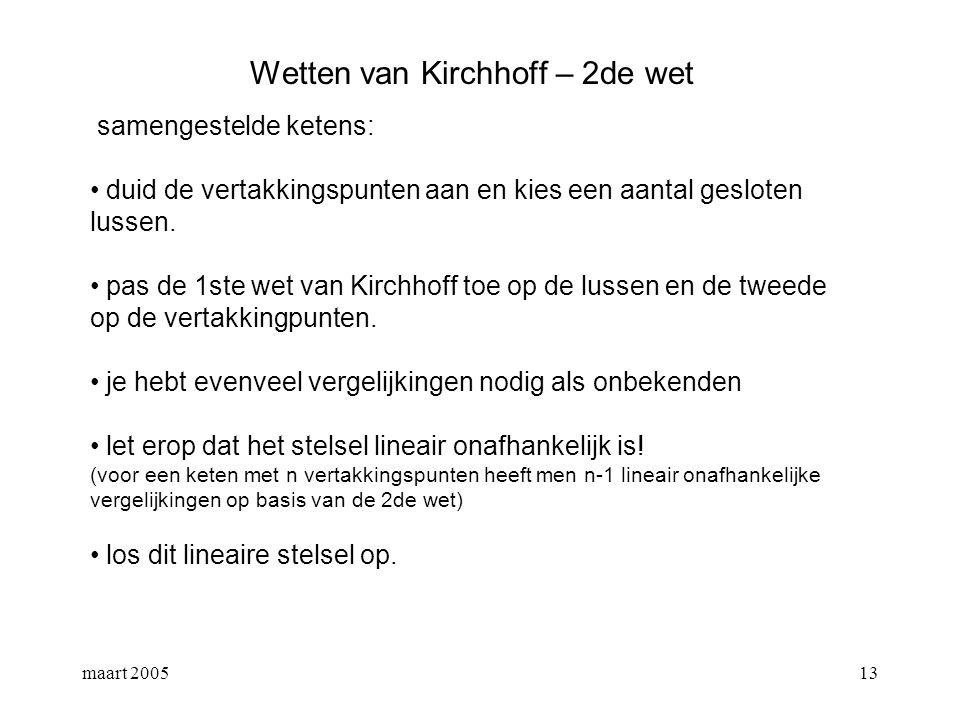 maart 200514 Wetten van Kirchhoff – voorbeeld