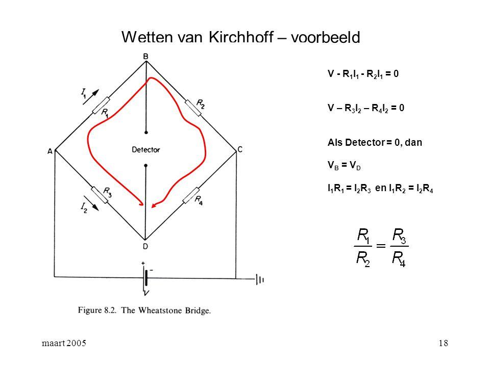 maart 200519 Meetinstrumenten een ampèremeter meet de stroom die door een tak gaat een voltmeter meet het potentiaalverschil over zijn klemmen een ohmmeter meet de weerstand tussen de klemmen.