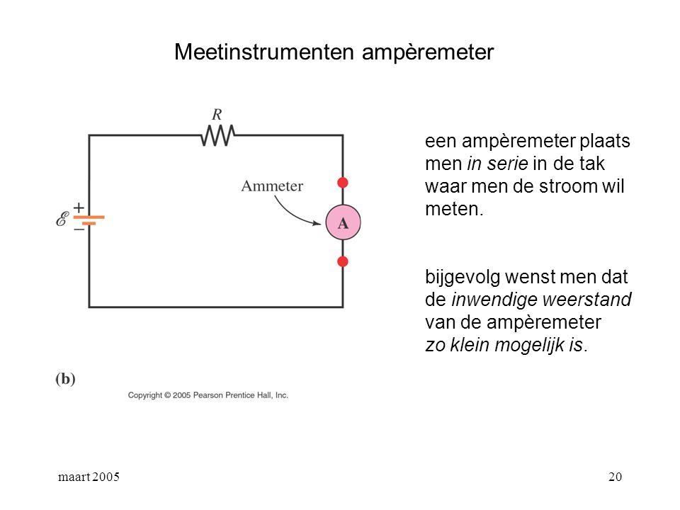 maart 200521 Meetinstrumenten voltmeter een voltmeter plaats men in parallel over de tak waar men de stroom wil meten.