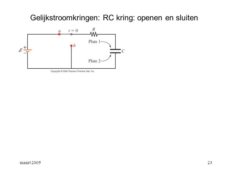 maart 200524 Gelijkstroomkringen: RC kring: openen en sluiten 1ste wet van Kirchhoff: algemene oplossing = oplossing van de homogene diffvlg + een particuliere oplossing