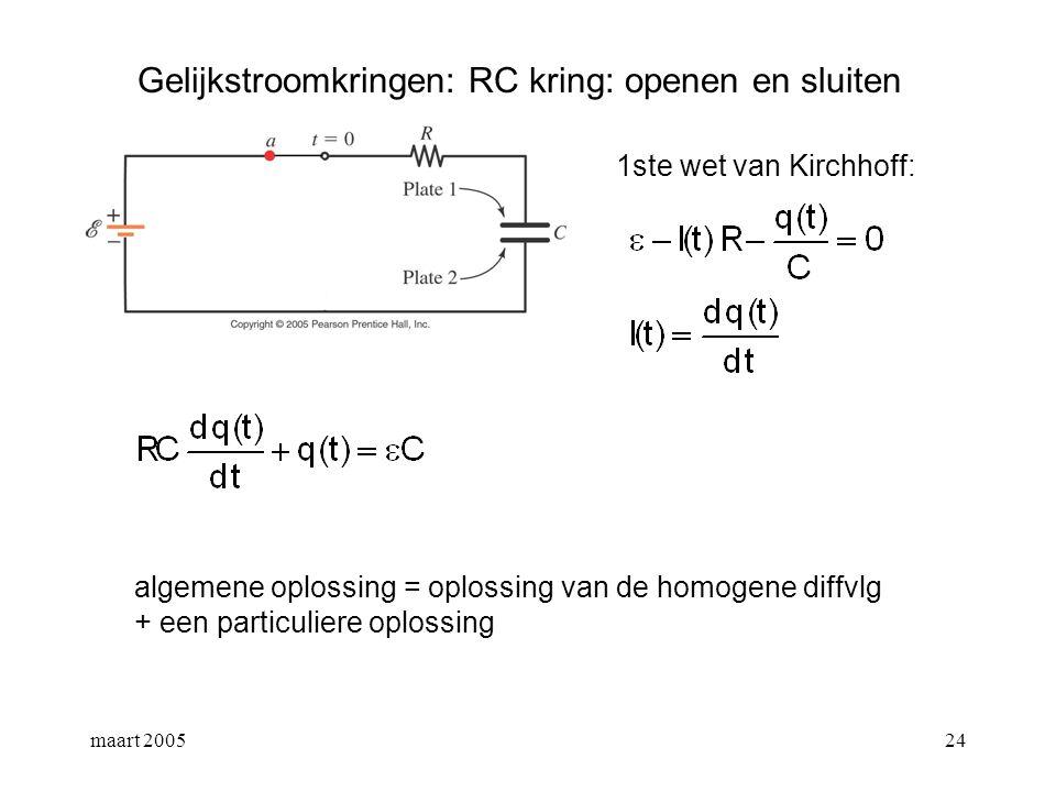 maart 200525 Gelijkstroomkringen: RC kring: openen en sluiten 1ste wet van Kirchhoff: particuliere oplossing: oplossing van de homogene diffvgl:
